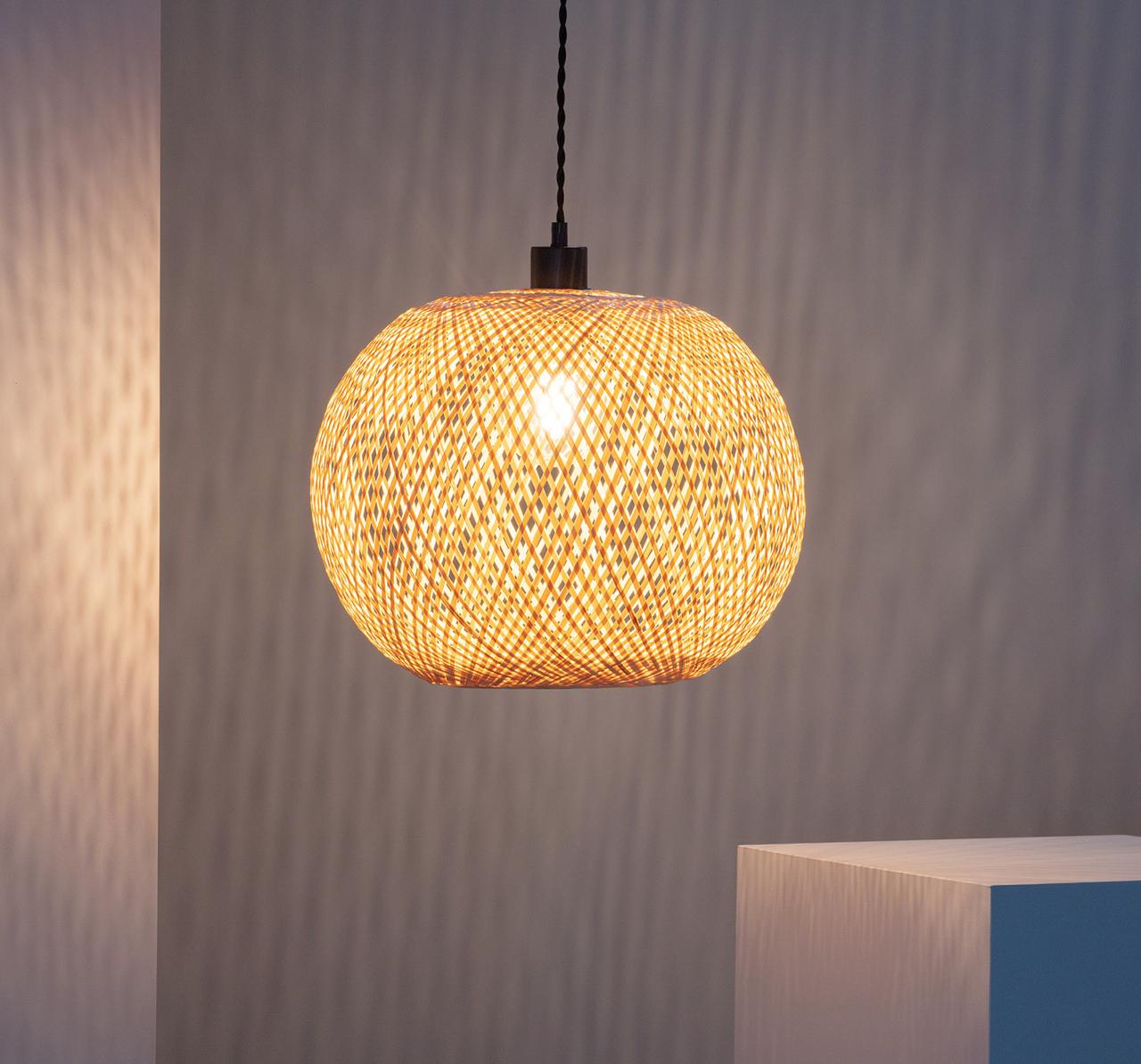 Bambusowa Lampa wisząca pleciona E27 naturalna Boho