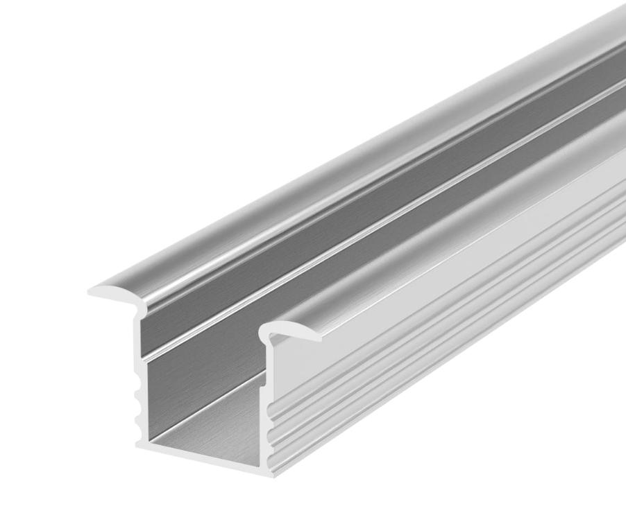 Profil do taśm LED P18-1 srebrny anodowany wpuszczany 2m zestaw
